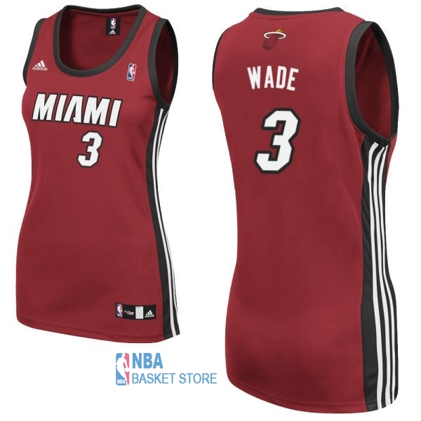 Achat Maillot NBA Femme Miami Heat NO.3 Dwyane Wadet Rouge