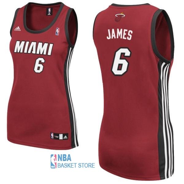 Achat Maillot NBA Femme Miami Heat NO.6 LeBron James Rouge
