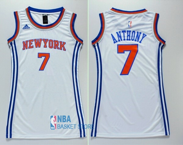 Achat Maillot NBA Femme New York Knicks NO.7 Carmelo Anthony Blanc