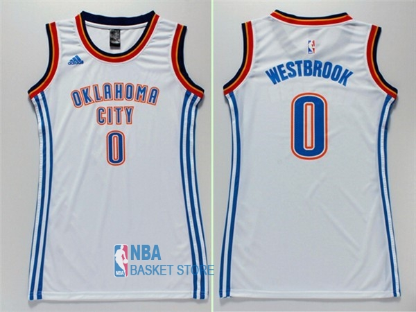 Achat Maillot NBA Femme Oklahoma City Thunder NO.0 Russell Westbrook Blanc