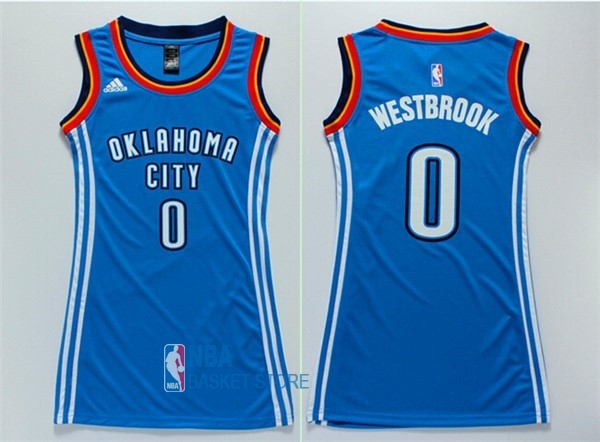 Achat Maillot NBA Femme Oklahoma City Thunder NO.0 Russell Westbrook Bleu