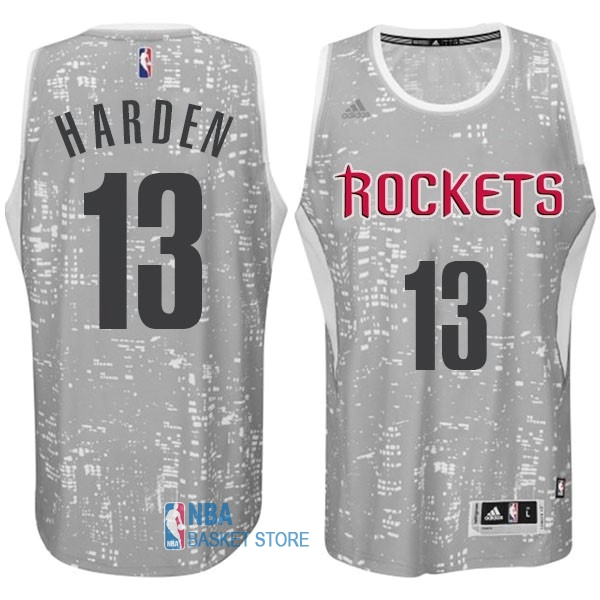 Achat Maillot NBA Houston Rockets Ville Lumières NO.13 Harden Gris