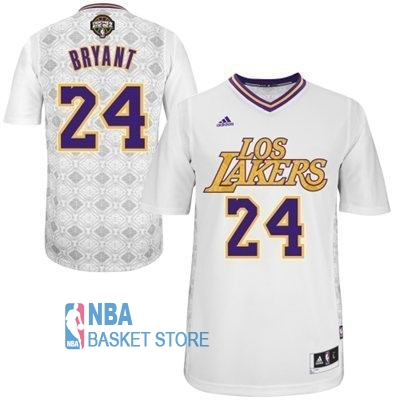 Achat Maillot NBA Los Angeles Lakers Nuits Latine Manche Courte NO.24 Bryant Blanc