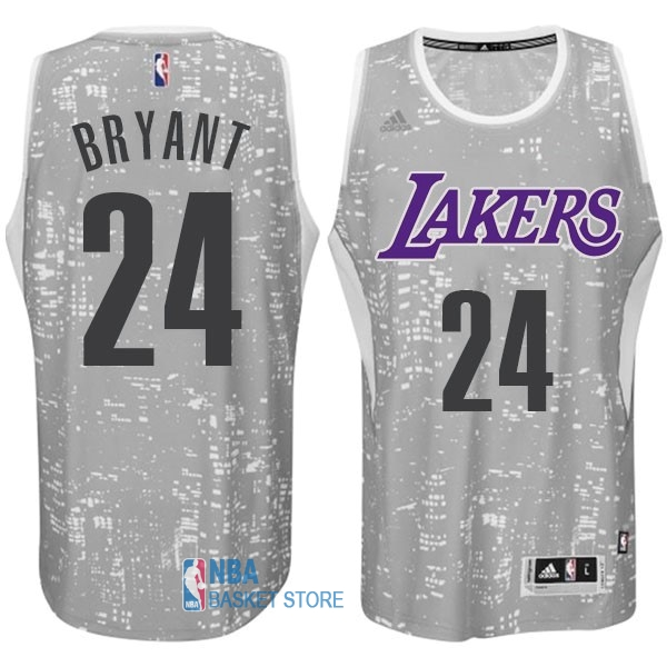 Achat Maillot NBA Los Angeles Lakers Ville Lumières NO.24 Bryant Gris