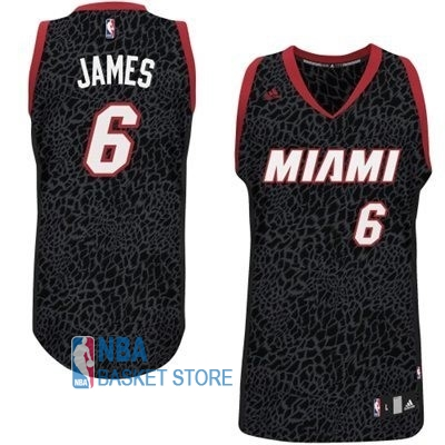 Achat Maillot NBA Miami Heat Luz Léopard NO.6 James Noir