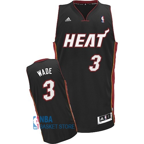 Achat Maillot NBA Miami Heat NO.3 Dwyane Wade Noir Rouge