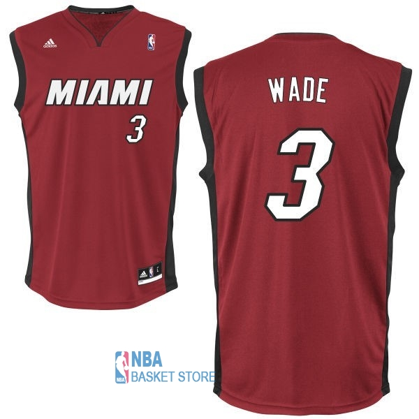 Achat Maillot NBA Miami Heat NO.3 Dwyane Wade Rouge Noir