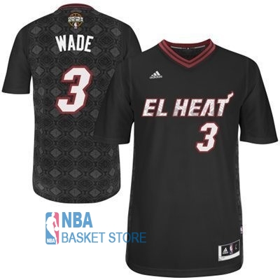 Achat Maillot NBA Miami Heat Nuits Latine Manche Courte NO.3 Wade Noir