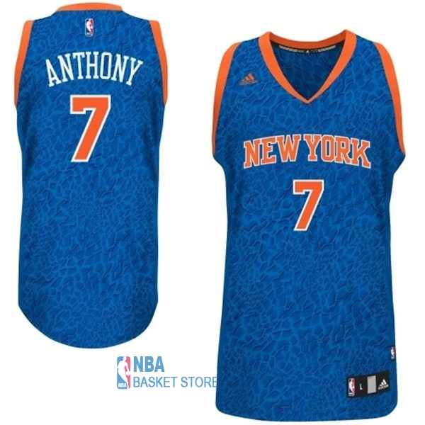 Achat Maillot NBA New York Knicks Luz Léopard NO.7 Anthony Bleu