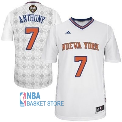Achat Maillot NBA New York Knicks Nuits Latine Manche Courte NO.7 Anthony Blanc