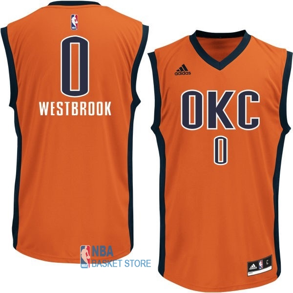 Achat Maillot NBA Oklahoma City Thunder NO.0 Russell Westbrook Orange