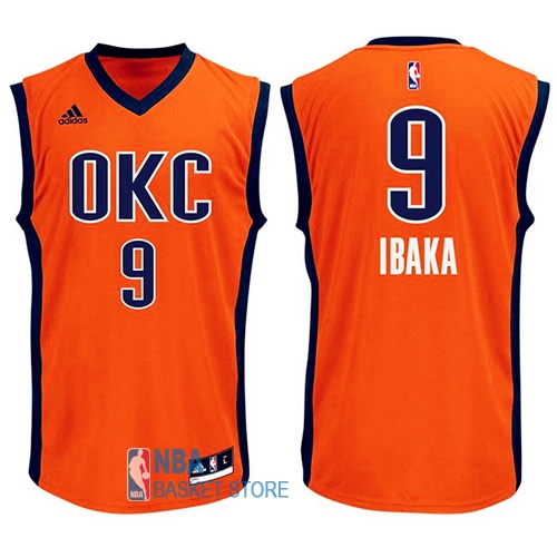 Achat Maillot NBA Oklahoma City Thunder NO.9 Serge Ibaka Orange