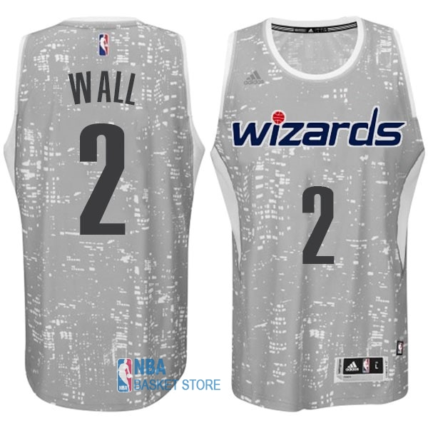Achat Maillot NBA Washington Wizards Ville Lumières NO.2 Wall Gris