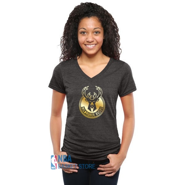 Achat T-Shirt Femme Milwaukee Bucks Noir Or